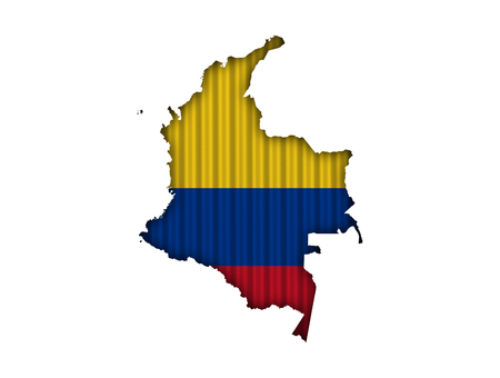 Map and flag of Colombia on corrugated iron Stock Photo