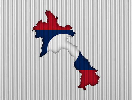 Map and flag of Laos on corrugated iron
