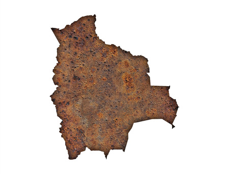 Map of Bolivia on rusty metal Stock Photo