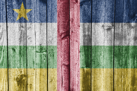 Flag of the Central African Republic on weathered wood