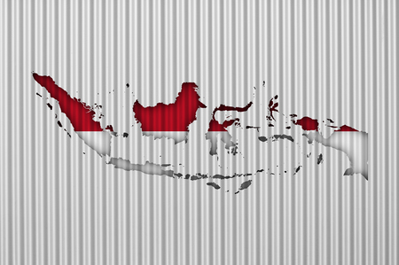 Map and flag of Indonesia on corrugated iron Stock Photo