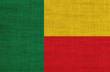 Flag of Benin on old linen Stock Photo