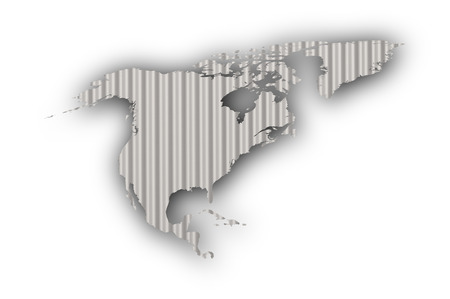 Map of North America on corrugated iron Stock Photo