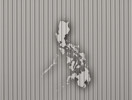 Map of the Philippines on corrugated iron