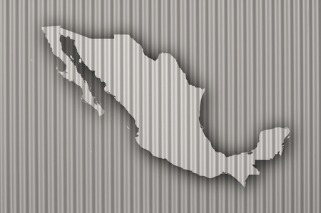 Map of Mexico on corrugated iron