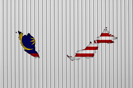 Map and flag of Malaysia on corrugated iron