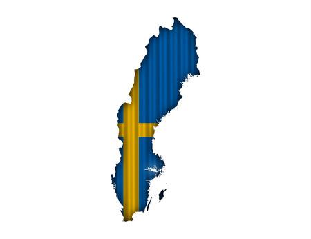 Map and flagt of Sweden