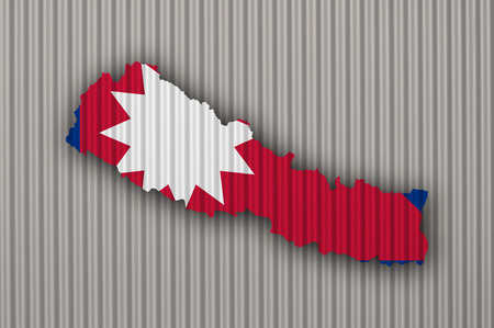Map and flag of Nepal on corrugated iron