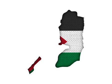 Map and flag of Palestine on old linen Stock Photo