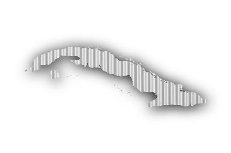 Map of Cuba on corrugated iron Stock Photo