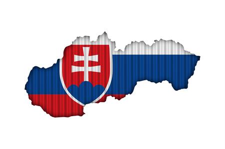 Map and flag of Slovakia on corrugated iron Stock Photo