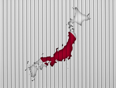 Map and flag of Japan on corrugated iron