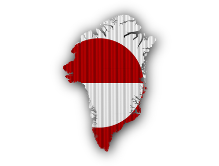 Map and flag of Greenland on corrugated iron