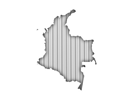 Map of Colombia on corrugated iron Stock Photo