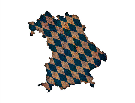 Map and flag of Bavaria on rusty metal