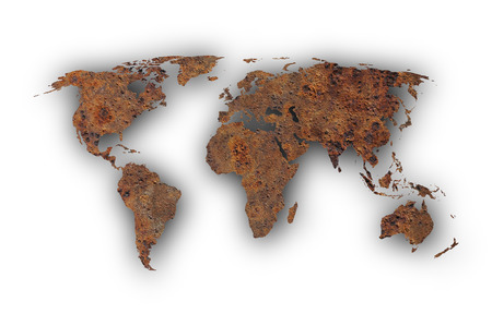 Map of the world on rusty metal