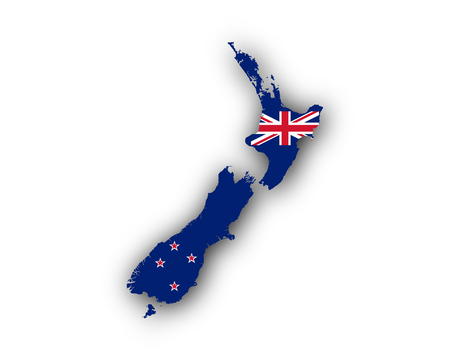 Map and flag of New Zealand