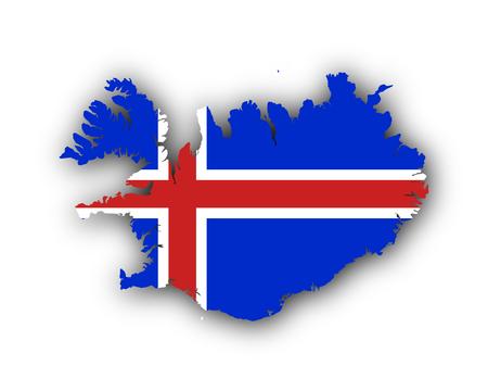 アイスランドの地図と旗 写真素材 - 90418715