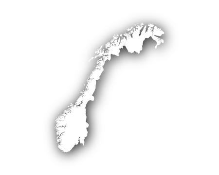 Kaart van Noorwegen met schaduw