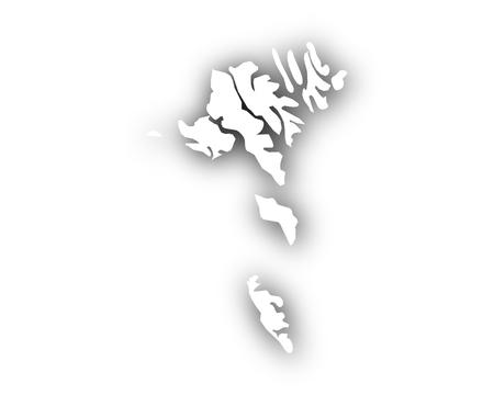 Kaart van de Faeröer met schaduw
