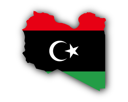 Map and flag of Libya Illustration