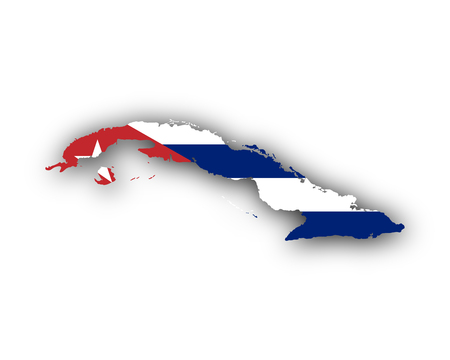 Map and flag of Cuba 일러스트