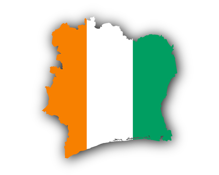 Map and flag of Ivory Coast