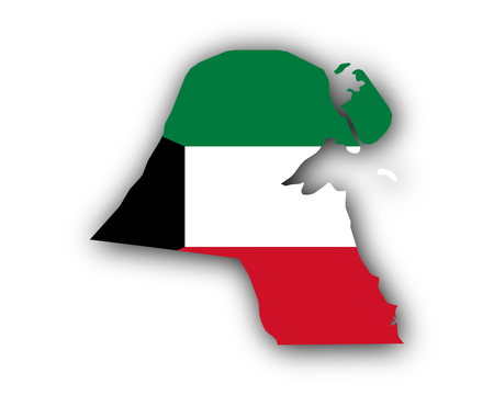 Map and flag of Kuwait
