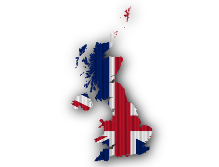 Map and flag of Great Britain on corrugated iron