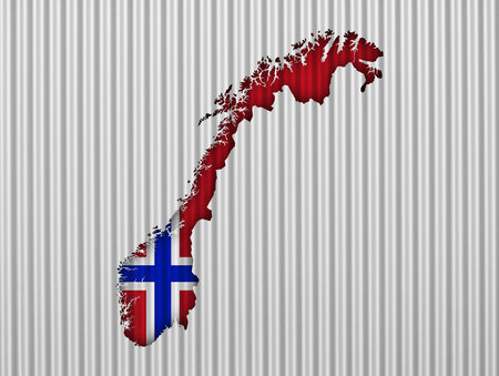Map and flag of Norway on corrugated iron Stock Photo
