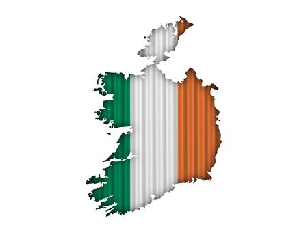 Map and flag of Ireland on corrugated iron