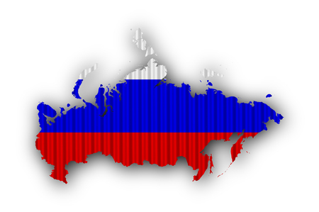 Map and flag of Russia on corrugated iron