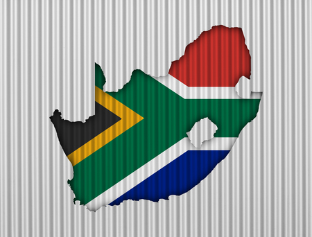 Map and flag of South Africa on corrugated iron