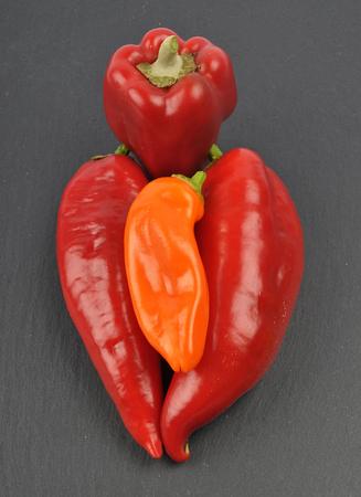 Ball pepper on slate 스톡 콘텐츠