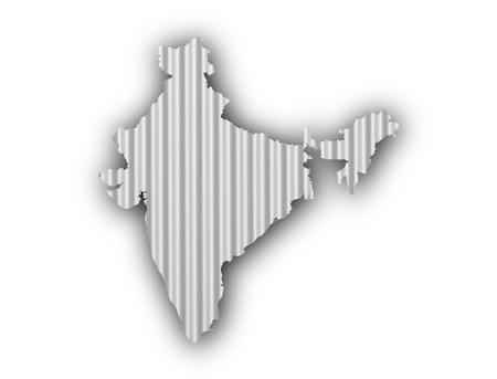 Map of India on corrugated iron Stock Photo