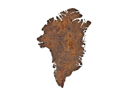 Map of Greenland on rusty metal