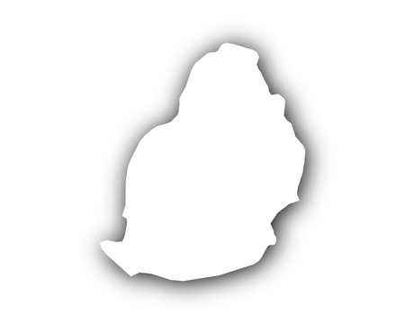 Map of Mauritius with shadow isolated on white