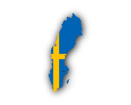 Map and flag of Sweden Vector illustration. 矢量图像