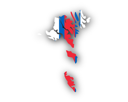Color of the flag of Faroe Islands formed like a map
