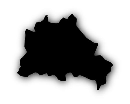 Kaart van Berlijn met schaduw