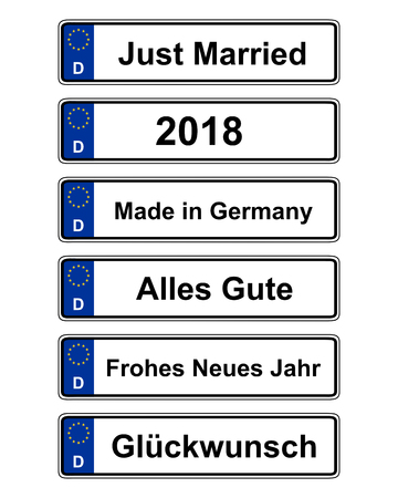 Duitse specifieke kentekenplaat op wit