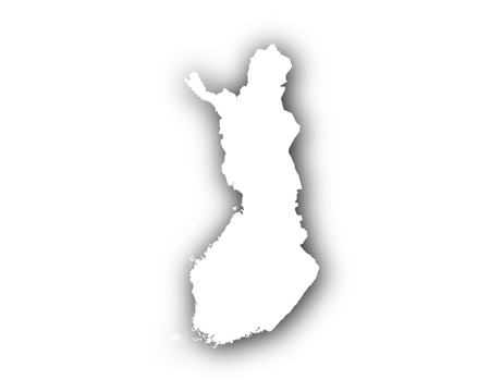 Map of Finland with shadow