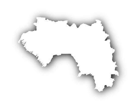 Kaart van Guinee met schaduw Stock Illustratie