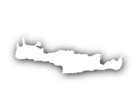 Map of Crete with shadow Illustration