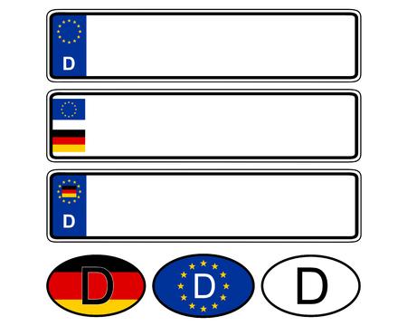 Duitse specifieke voertuignummerplaat op wit Vector Illustratie