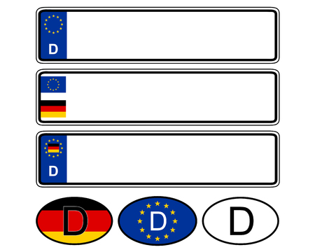 German specific vehicle registration plate on white Vetores