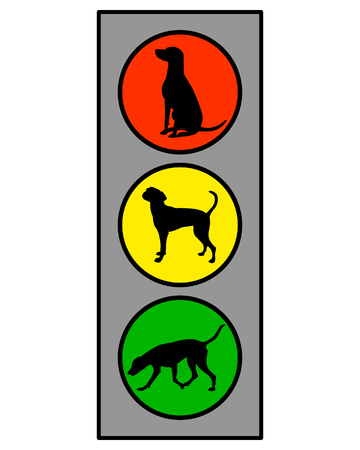 Traffic light with dog on white