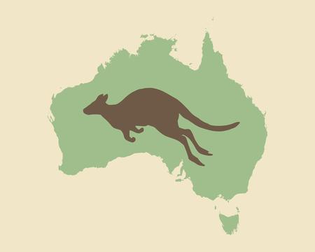 Kangaroo and Australia vintage style