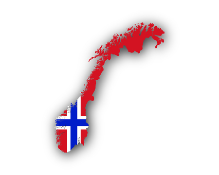Map and flag of Norway 矢量图像