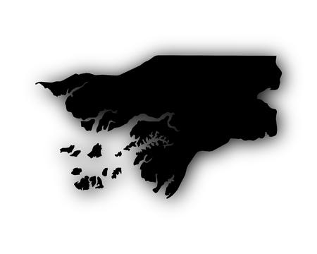 Kaart van Guinee-Bissau met schaduw